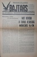 """BAJTÁRS  - A """" TURUL """" MOZGALOM LAPJA  1938"""