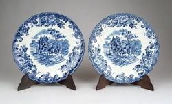 1C321 Johnson Bros kék-fehér vadász jelenetes fajansz csészealj tányér pár