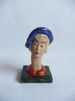 Székely Lilly art deco kerámia nő kék kalapban
