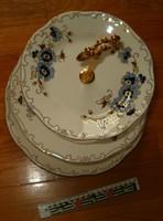 Gyönyörű Zsolnay 3 szintes süteményes emeletes tálca kínáló búzavirág nagy porcelán KIÁRUSÍTÁS 1 Ft