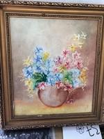 Csendélet, festmény, 35 x 25 cm nagyságú, olaj, vászon.