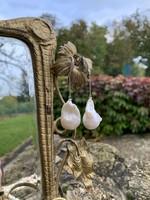 Hatalmas barokk gyöngy fülbevaló 925 ezüst akasztóval gyöngy ékszer