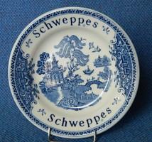 Enoch Wedgwood Angol kistányér, Schweppes, kék