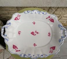 Antik Bécs tál füles 1844 ből!!! Vastag porcelán füles kínáló asztalközépnek, húsos tál! Altwien!!
