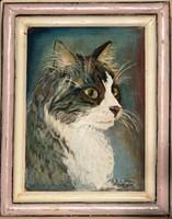 B. Sudgam: Őfelsége, a macska - olajfestmény egyedi keretben
