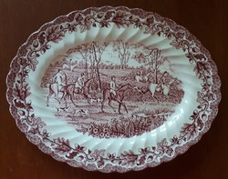 """Angol jelenetes porcelán tál bordó """"Country Life"""" lovas vadászos"""
