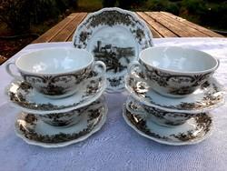 Német porcelán, jelenetes leveses csészék