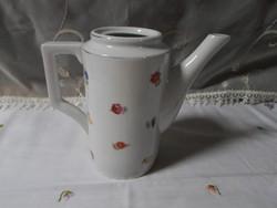 Zsolnay porcelán, virágos kávéskanna, kávékiöntő, kávés kiöntő (art deco, 1930-as évek)