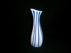 Aquincumi kék csíkos Art Deco porcelán váza 17 cm magas