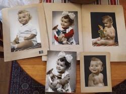 Szipál fotók kislány baba portré, kézzel színezett képek szignózott