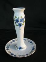 Zsolnay porcelán kék virágos gyertyatartó