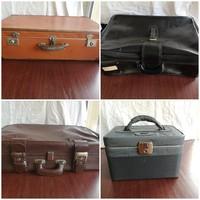 3db Antik és retro koffer, bőrönd, utazótáska, (fekete, barna)