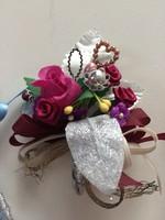 Gyönyörű drezdai kézzel készített esküvői öltönyzsebdísz szett