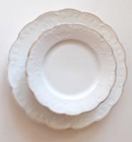 Régi fehér szecessziós porcelán Geschützt desszertes étkészlet tányér 6 db