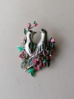 Ezüst gyönyörű tűzzomancos madár pár 925
