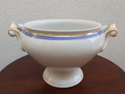 Régi porcelán komatál népi talpas tál fehér leveses tál