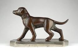 1C281 Régi bronzírozott öntöttvas kutya, kölyök vizsla szobor 19 cm