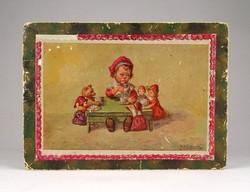 1C333 Antik kislányos bobonos papírdoboz 13 x 18 cm