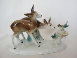Lippelsdorfi porcelán őzike madárral