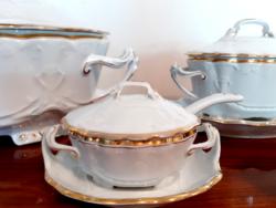 Régi fehér szecessziós porcelán Geschützt kínáló tál étkészlet