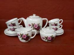 Gránit Gyönyörű rózsás 4 személyes teáskészlet, Gyűjtői darab