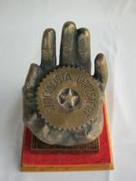 Iparművész bronz kéz retro újpesti szocialista emlék jelzett
