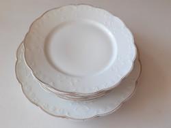 Régi fehér szecessziós porcelán Geschützt lapostányér étkészlet tányér 7 db