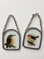 Két madaras üveg kép dísz ablakdísz vagy karácsonyfadísz