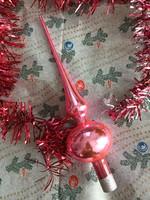 Csodás antik rózsaszín karácsonyfadísz csúcsdísz