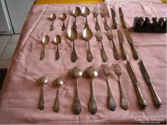 U13 Antik Orosz barokk díszes ezüstözött evőeszköz készlet  24-db-os ritkaság