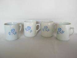 Zsolnay porcelán kék rózsás régi szoknyás bögre 4 db