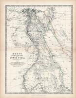 Egyiptom térkép 1883, eredeti, atlasz, Keith Johnston, angol, 36 x 47 cm, Afrika, Núbia, Arábia