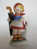 Kislány libával német porcelán