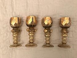 Römer 19. század   aranyozott  zománcfestett poharak