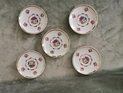 Zsolnay kisméretű rózsamintás süteményes tányérok 5 db