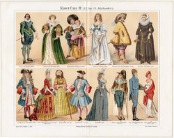 Divat, öltözködés, ruha, litográfia 1896 (3), eredeti, német, XVII. - XIX. század, öltözet, viselet