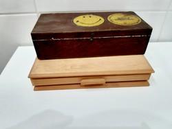 2 darab fa doboz, varródoboz és egy fa tálca együtt
