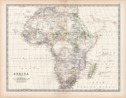 Afrika térkép 1883, eredeti, atlasz, Keith Johnston, angol, 36 x 47 cm, Szahara, Nílus, Madagaszkár