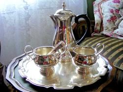 Igazi arisztokrata kecsesség, ezüstözött kávé-tea szervírozó készlet, csillogó-villogó felülettel