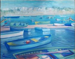Máltai kikötő - Olajfestmény