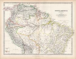 Dél - Amerika északi része térkép 1883, eredeti, atlasz, Keith Johnston, angol, 36 x 47 cm, Kolumbia