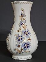 Zsolnay Búzavirág mintás fodros szélű váza 18 cm