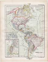 Amerika térkép 1870, eredeti, német nyelvű, atlas, Kozenn, régi, észak, dél, közép, Quito, antik