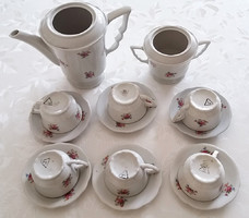 Régi Zsolnay porcelán rózsás kávés készlet csésze kiöntő cukortartó 14 db