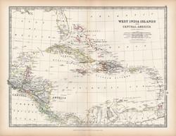 Nyugat - Indiai - szigetek térkép 1883, eredeti, atlasz, Keith Johnston, angol, 36 x 47 cm, Amerika