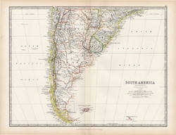 Dél - Amerika déli része térkép 1883, eredeti, atlasz, Keith Johnston, angol, 36 x 47 cm, La Plata