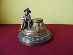 Bronz szobros kalamáris asztali óra.
