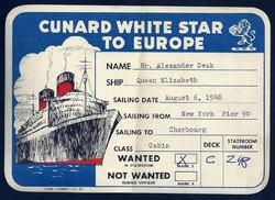 Cunard White Star hajózási társaság Erzsébet királynő hajójának poggyász jegye 1948