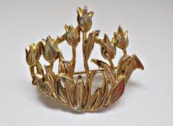 Aranyozott tulipános bross
