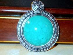 Türkiz Kék köves Amulett Tibeti ezüst tekintélyes Medál